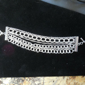 Multi Strand Silver Chain with Toggle Bracelet